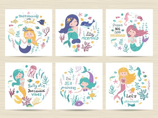 Conjunto de carteles con sirena, animales marinos y letras Vector Premium