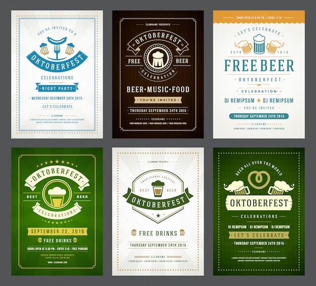 Conjunto de carteles de tipografía oktoberfest Vector Premium