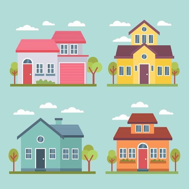 Conjunto de casa de diseño plano vector gratuito