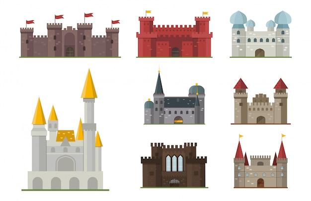 Conjunto de castillo de cuento de hadas de dibujos animados Vector Premium