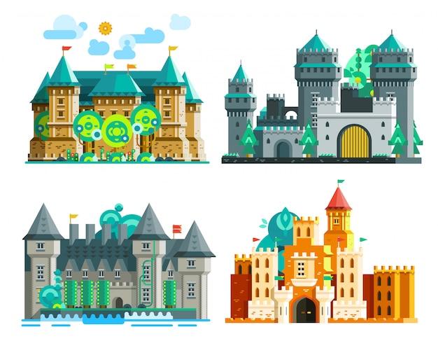 Conjunto de castillos de colores vector gratuito