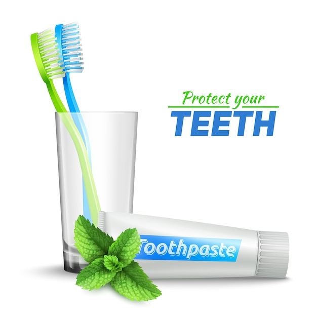 Conjunto con cepillos de dientes en pasta de dientes de vidrio y menta vector gratuito