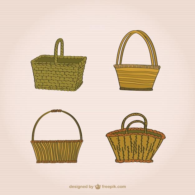 Conjunto de cestas de mimbre vector gratuito