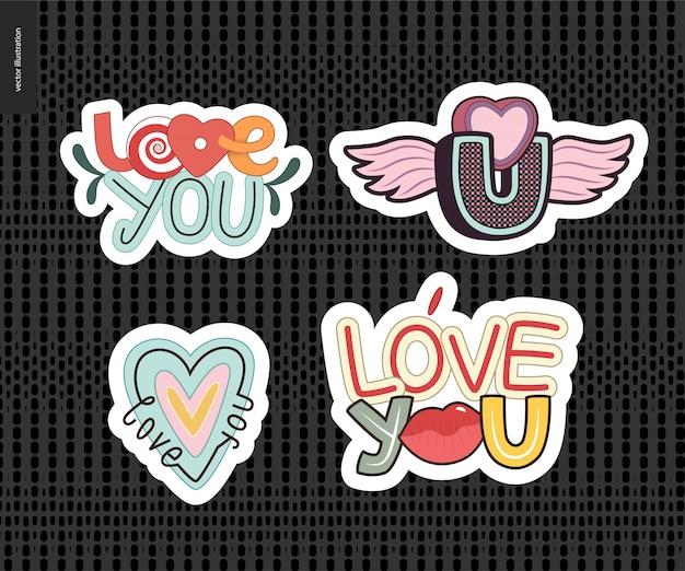 Conjunto de chica contemporánea love you letra. Vector Premium