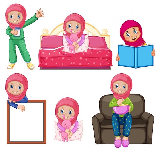 Un conjunto de chica musulmana y actividad. vector gratuito