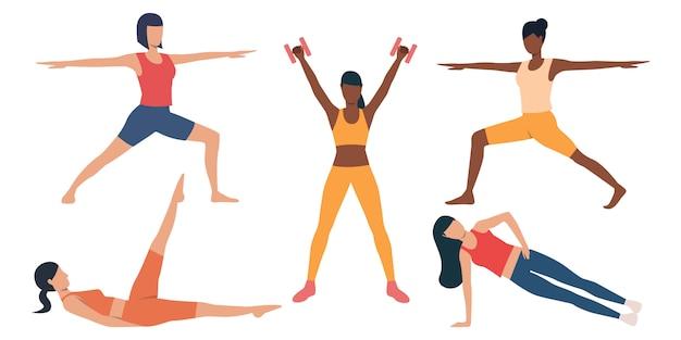 Conjunto de chicas delgadas haciendo ejercicio. vector gratuito