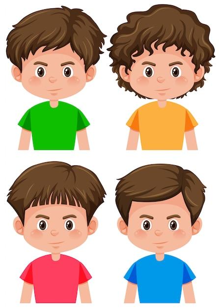 Conjunto de chico de carácter diferente peinado vector gratuito