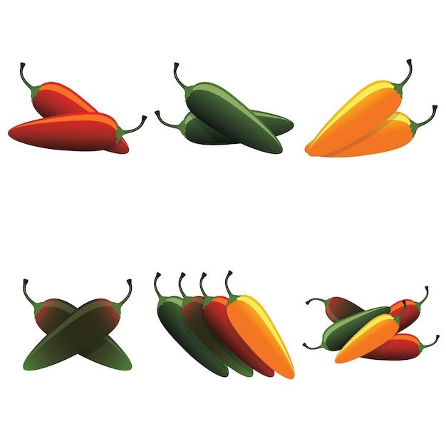 Conjunto de chiles calientes jalapeño caliente vector gratuito