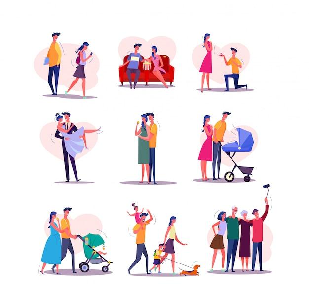 Conjunto de ciclo de vida familiar vector gratuito