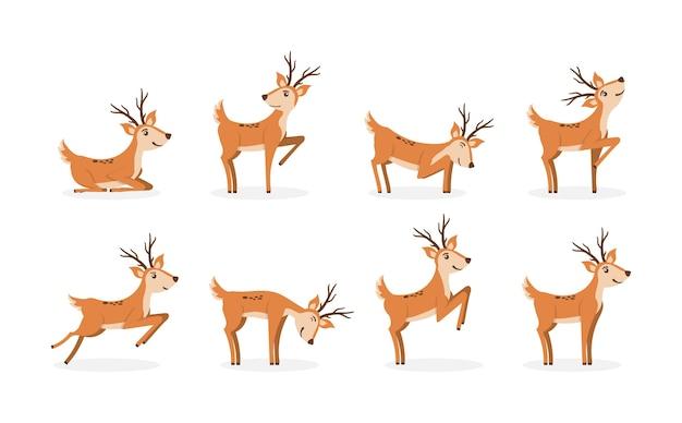 Conjunto de ciervos marrones corriendo y saltando Vector Premium