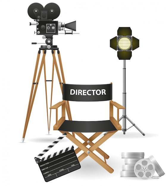 Conjunto de cinematografía, cine y película, ilustración vectorial. Vector Premium