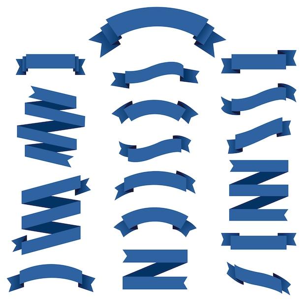Conjunto de cinta azul Vector Premium