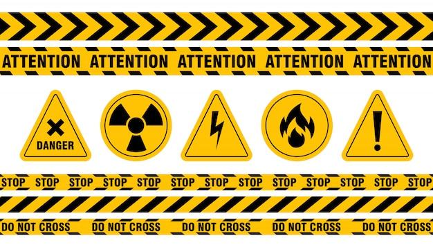 Conjunto de cinta y señal de peligro varios vector gratuito