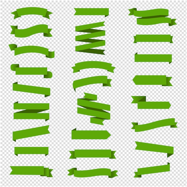 Conjunto de cinta verde en fondo transparente Vector Premium
