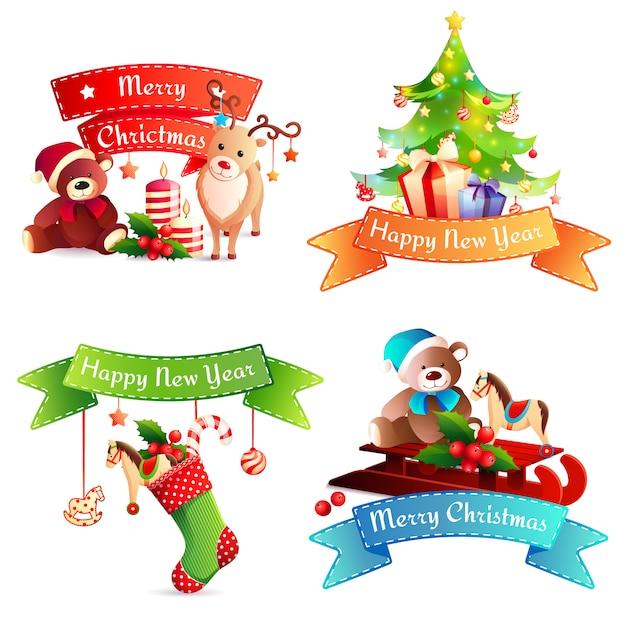Conjunto de cintas de año nuevo y feliz navidad vector gratuito