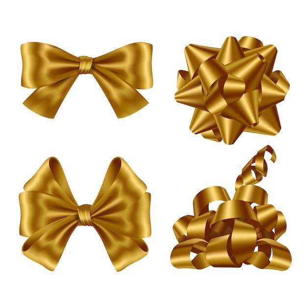 Conjunto de cintas y lazos dorados vector gratuito
