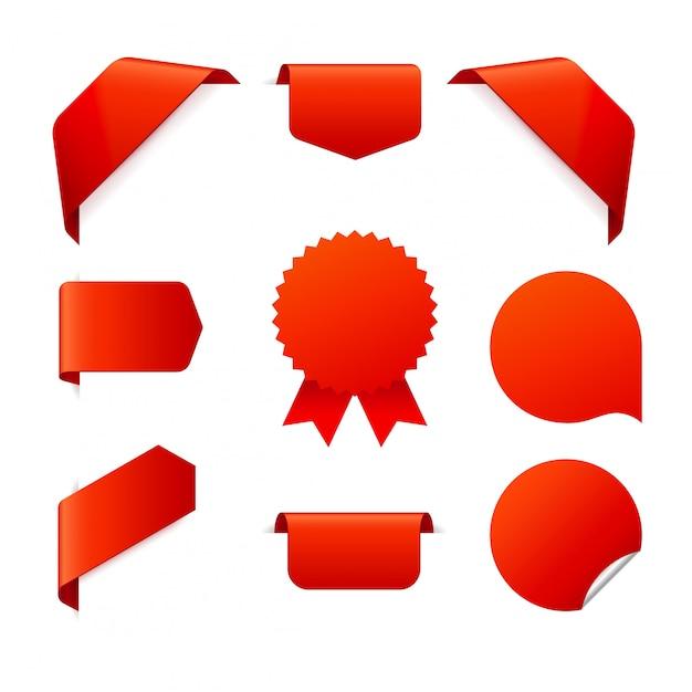 Conjunto de cintas rojas sobre blanco Vector Premium