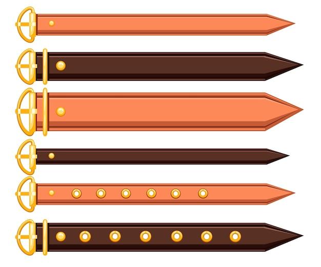 Conjunto de cinturón de cuero y elementos metálicos diseño de cadena y trenzado Vector Premium