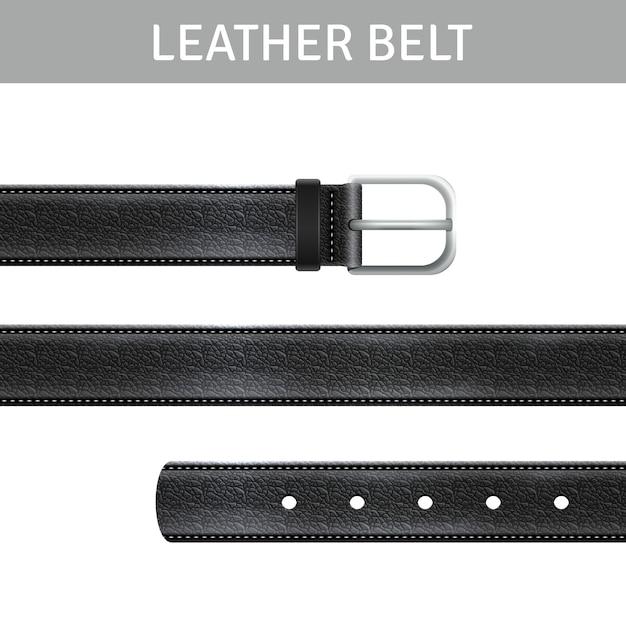 Conjunto de cinturón de cuero vector gratuito