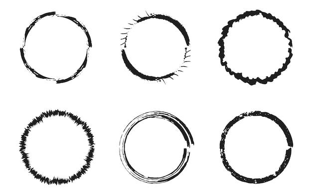 Conjunto de círculos negros grunge, marcos redondos Vector Premium
