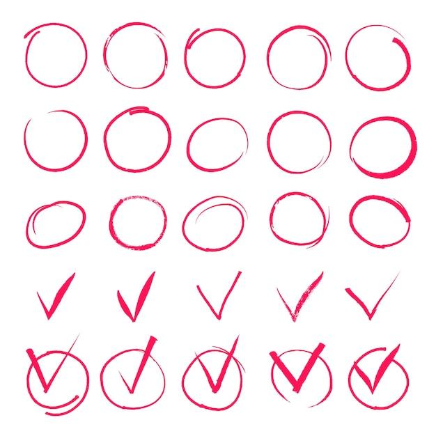 Conjunto de círculos rojos resaltados dibujados a mano e iconos de marca de verificación. vector gratuito