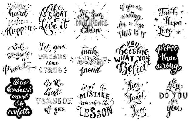 Conjunto de citas inspiradoras de letras a mano Vector Premium