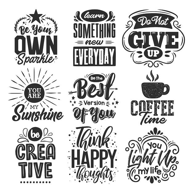 Conjunto de citas motivacionales vector gratuito