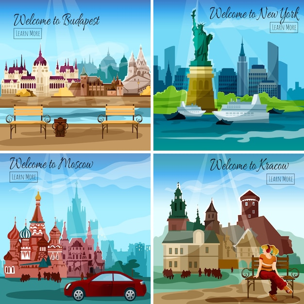 Conjunto de ciudades famosas vector gratuito