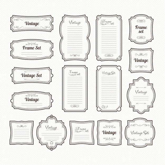 Conjunto clásico de marcos vintage Vector Premium
