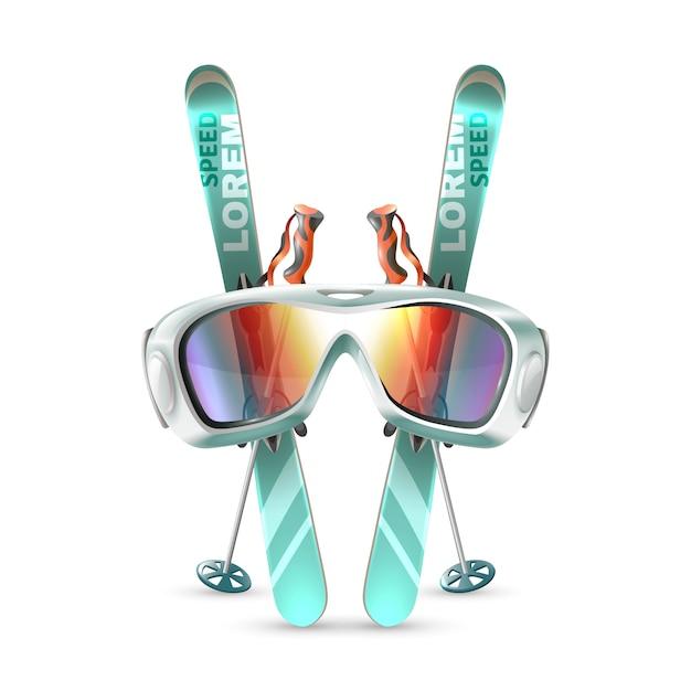 Conjunto de club de esquí vector gratuito