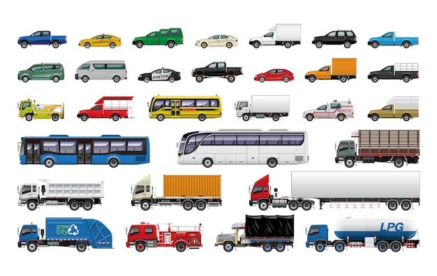 Conjunto de coches ilustración Vector Premium