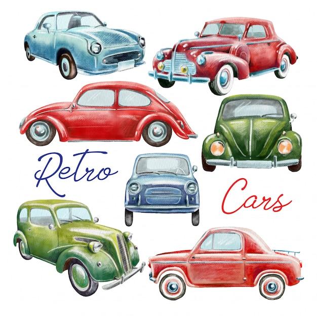 Conjunto de coches retro pintados a mano. Vector Premium