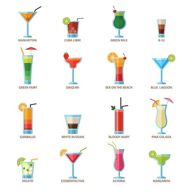 Conjunto de cócteles diferentes bebidas alcohólicas Vector Premium