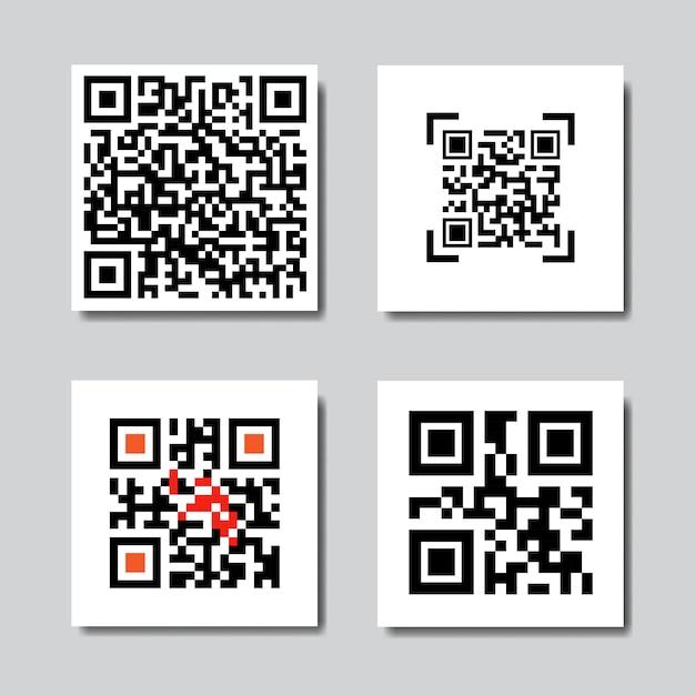 Conjunto de códigos de qr de muestra para los iconos de escaneo de teléfonos inteligentes Vector Premium