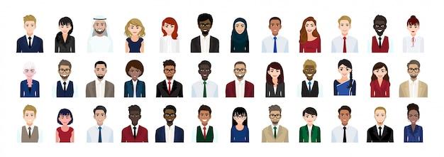 Conjunto de colección de cabeza de personaje de dibujos animados de gente de negocios Vector Premium