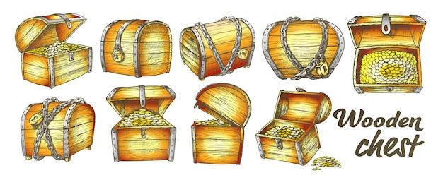 Conjunto de colección de cofre del tesoro Vector Premium