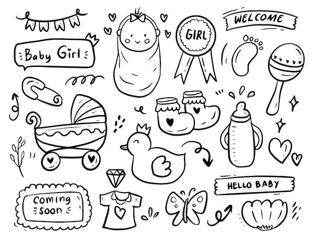 Conjunto de colección de dibujo de doodle de fiesta de ducha de bebé niña Vector Premium