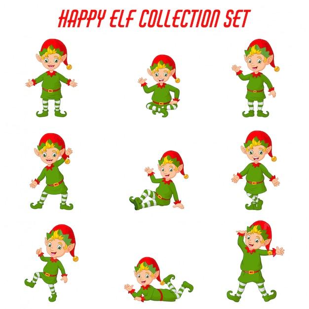 Conjunto de colección de dibujos animados elfos de navidad Vector Premium