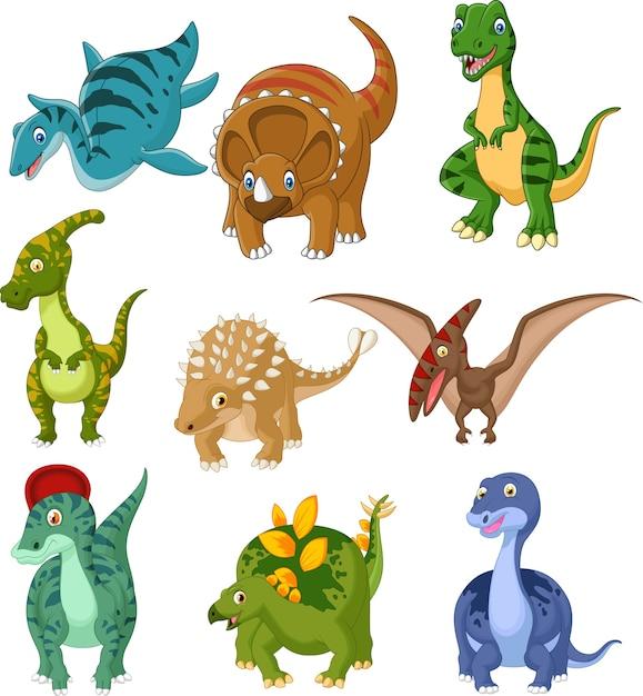 Conjunto De Colección De Dinosaurios De Dibujos Animados