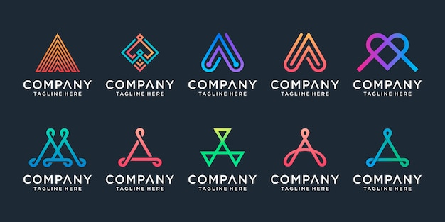 Conjunto de colección de diseño de logotipo creativo letra a. Vector Premium