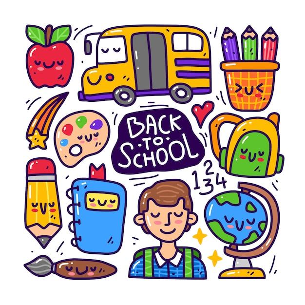 Conjunto de colección doodle de elemento de regreso a la escuela. Vector Premium