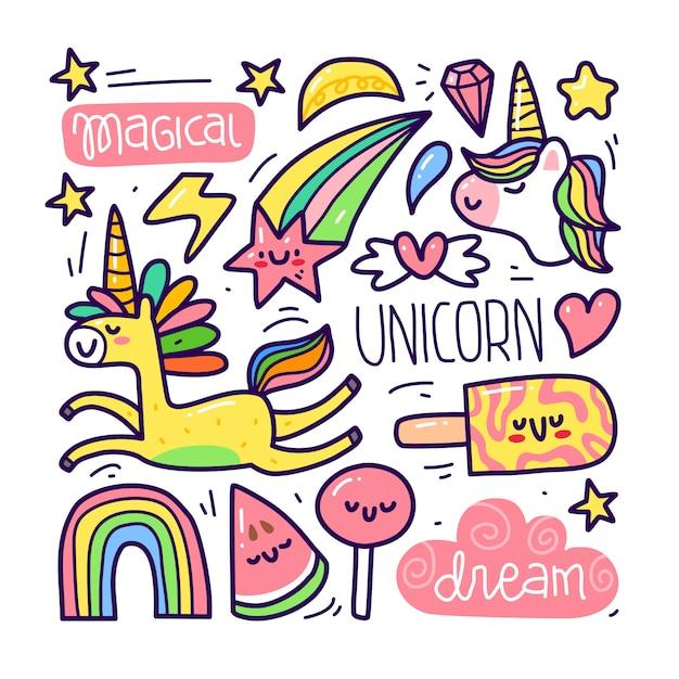 Conjunto de colección doodle de elemento unicornio Vector Premium