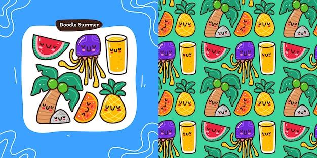 Conjunto de colección doodle de elemento de verano y patrones sin fisuras Vector Premium