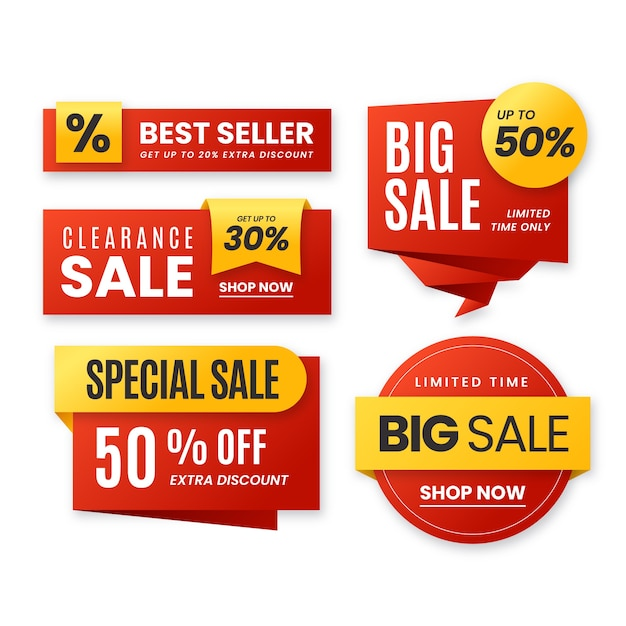Conjunto de colección de etiquetas de ventas realistas vector gratuito