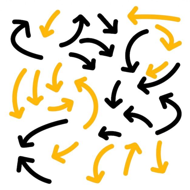 Conjunto de colección de flechas dibujadas a mano líneas audaces vector gratuito