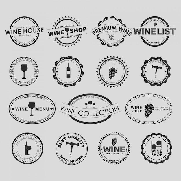 Conjunto de colección de logos de vino vintage Vector Premium