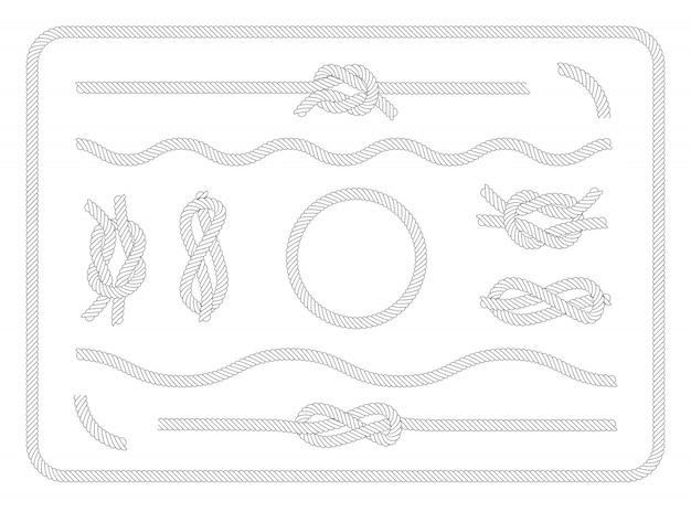 Conjunto de colección de nudos marineros vector gratuito