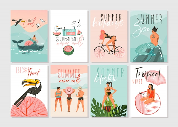 Conjunto de colección de plantillas de tarjetas de ilustraciones de dibujos animados abstractos dibujados a mano con gente de playa, sirena y ballena, puesta de sol y pájaros tropicales sobre fondo blanco Vector Premium