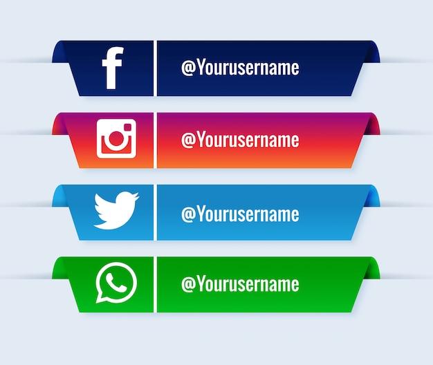 Conjunto de colección popular de los tercios inferiores de las redes sociales vector gratuito