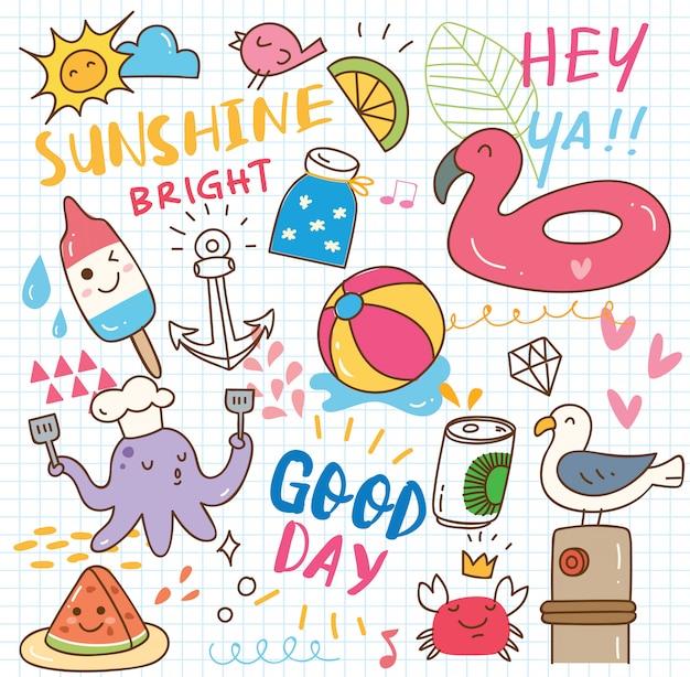 Conjunto de collage de doodle de verano Vector Premium